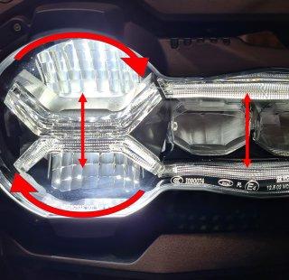 Bewegungsrichtungen der LED Einheit BMW R 1250 GS
